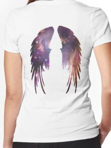 Angel Pink Galaxy Wings Women's Fitted V-Neck T-Shirt