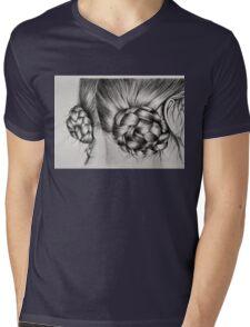Braids in buns Mens V-Neck T-Shirt