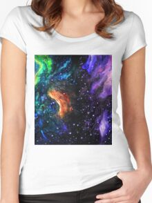 Watercolor space Women's Fitted Scoop T-Shirt