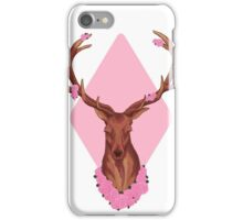 Stag Peaceful In Pink Flowers iPhone Case/Skin