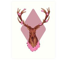 Stag Peaceful In Pink Flowers Art Print