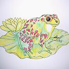 Frog on Lotus Leaf by George Hunter
