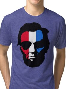 Lincoln with Aviator Sunglasses - Pop-Art Red White and Blue Tri-blend T-Shirt