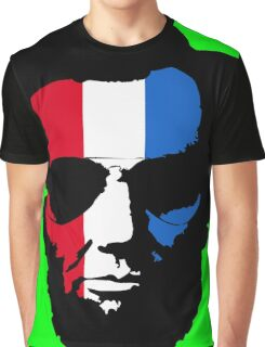 Lincoln with Aviator Sunglasses - Pop-Art Red White and Blue Graphic T-Shirt