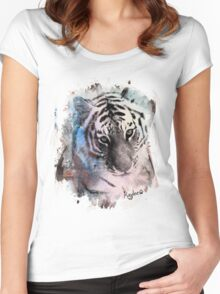 Painted Tiger  Women's Fitted Scoop T-Shirt