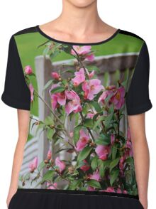 Pink Flowers By The Bench Chiffon Top