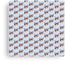 Cat with flowers. Pattern Canvas Print