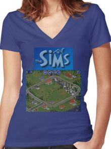 The Sims 1 - Neighborhood Women's Fitted V-Neck T-Shirt