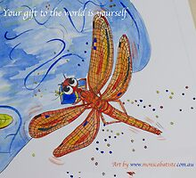 Your gift to the world is yourself - Orange Dragonfly by Monica Batiste
