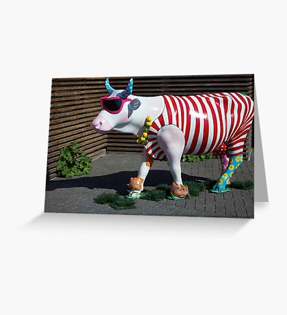 Painted Cow on Holiday - at Floriade Greeting Card