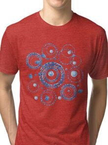 Watercolor circle wreath blue pattern Tri-blend T-Shirt