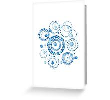 Watercolor circle wreath blue pattern Greeting Card