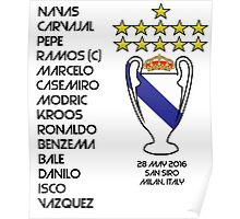 Real Madrid 2016 Champions League Winners Poster