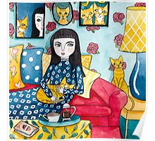 A Girl and Her Ginger Cats Poster