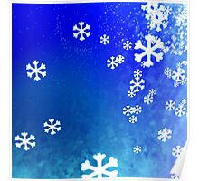 Snowflakes on blue Poster