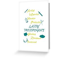 Lady Midnight Character Nick Names Greeting Card