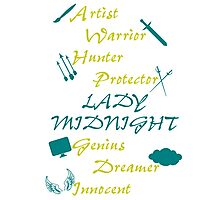 Lady Midnight Character Nick Names Photographic Print