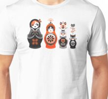 Russian Nesting Dolls – Red & Black Unisex T-Shirt