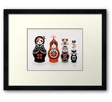 Russian Nesting Dolls – Red & Black Framed Print