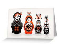 Russian Nesting Dolls – Red & Black Greeting Card