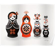 Russian Nesting Dolls – Red & Black Poster