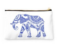 Blue Elephant Patterned Studio Pouch