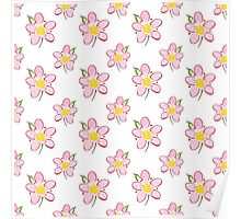 Pink Flower Watercolor Pattern Poster