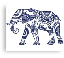 Navy Patterned Elephant Canvas Print