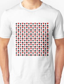 Red & Black French Cards Hearts Diamonds Clubs Spades T-Shirt