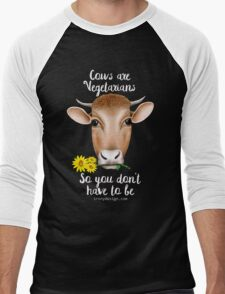 Cows are Vegetarians Funny Saying Men's Baseball ¾ T-Shirt