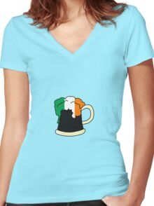 St Patrick's Day Irish Milk Stout Women's Fitted V-Neck T-Shirt