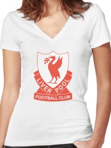 LIVERPOOL OLD LOGO crest badge vintage retro Women's Fitted V-Neck T-Shirt
