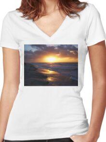 Sunrise Over Atlantic Ocean Women's Fitted V-Neck T-Shirt