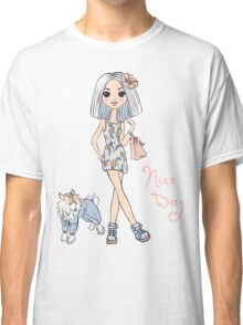 Girl in dress with dog Classic T-Shirt