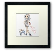 Girl in dress with dog Framed Print