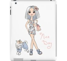 Girl in dress with dog iPad Case/Skin
