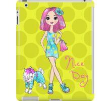 Pop Art girl in dress with dog iPad Case/Skin