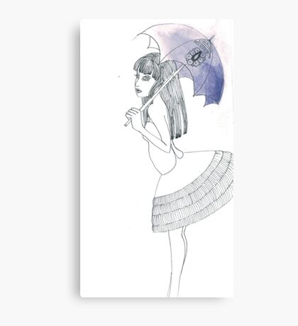 Girl with a blue umbrella Canvas Print