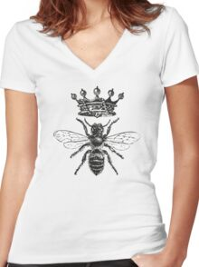 Queen Bee   Black & White Women's Fitted V-Neck T-Shirt