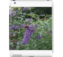 Red Admiral butterfly on rose bay willow herb iPad Case/Skin