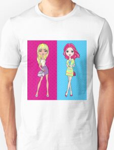 Pop Art girls in skirts with bags Unisex T-Shirt