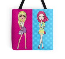 Pop Art girls in skirts with bags Tote Bag