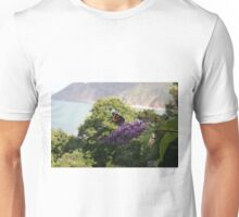 Red admiral on rose bay willow herb, backdrop of Exmoor coastline. Unisex T-Shirt
