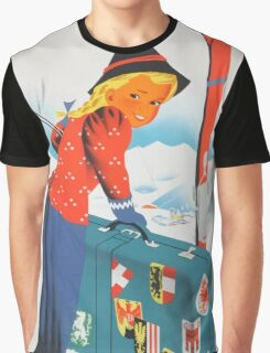 Winter in Austria Vintage Travel Poster Graphic T-Shirt