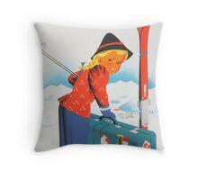 Winter in Austria Vintage Travel Poster Throw Pillow