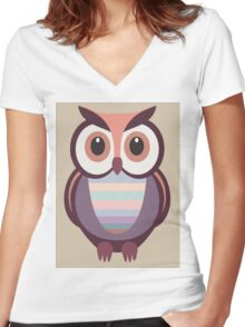 WIDE EYED OWL Women's Fitted V-Neck T-Shirt