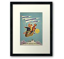 Austria, Germany Bavarian Alps Vintage Travel Poster Framed Print