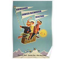 Austria, Germany Bavarian Alps Vintage Travel Poster Poster