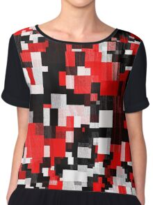 Red Black Checker Abstract Chiffon Top