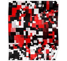 Red Black Checker Abstract Poster